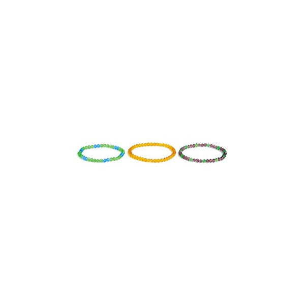 BRACELET GLASS 4MM BICONE ASSORT (3 BRACELETS)