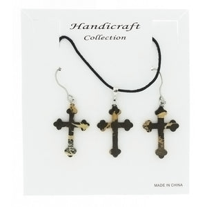 SET CORDED GEMSTONE PAINTBRUSH JASPER CROSS EARRING & NECKLACE