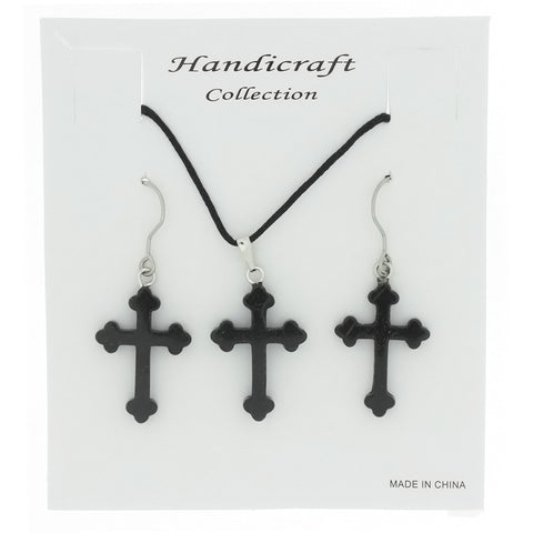 SET CORDED GEMSTONE BLACK STONE CROSS EARRING & NECKLACE
