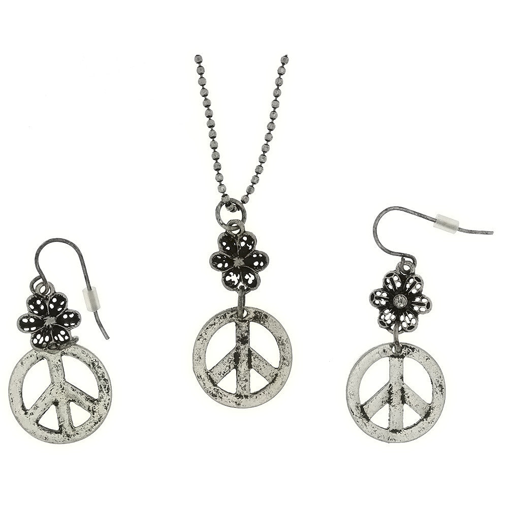 SET CHAIN CHARM PEACE SIGN & FLOWER EARRING & NECKLACE