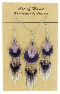 SET CHAIN SYNTHETIC DREAMCATCHER PURPLE EARRING & NECKLACE