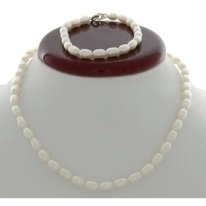 SET BEADED NATURAL FRESHWATER PEARL RICE BRACELET & NECKLACE