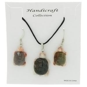 SET CORDED GEMSTONE VARIOUS TURTLE EARRING & NECKLACE