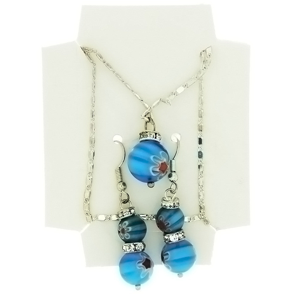 SET CHAIN GLASS MILLEFIORI ROUND EARRING & NECKLACE