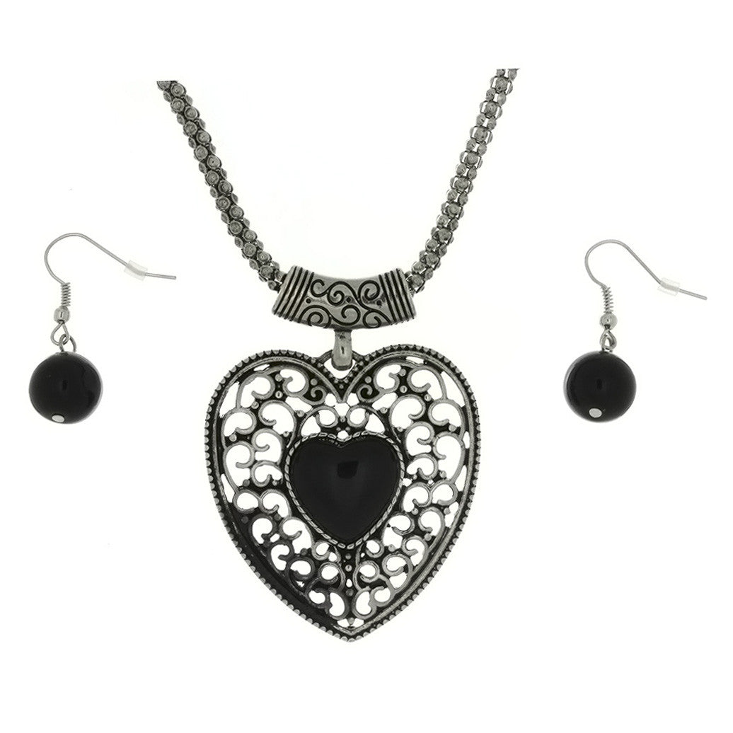 SET CHAIN CHARM HEART EPOXY EARRING & NECKLACE