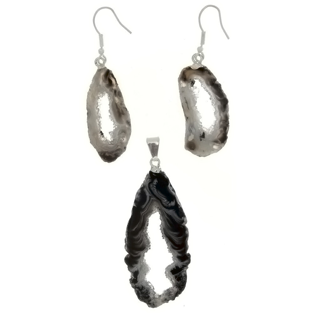 DROP AGATE GEODE EARRING & PENDANT SET