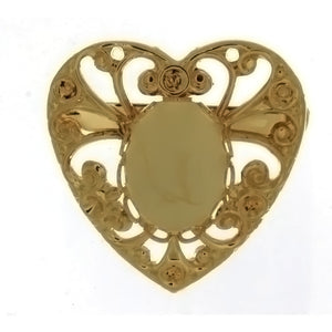 BROOCH CABOCHON HEART 10 X 14 MM FINDING