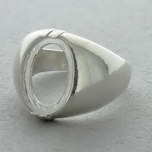 CABOCHON MEN'S 10 X 14 MM SS RING