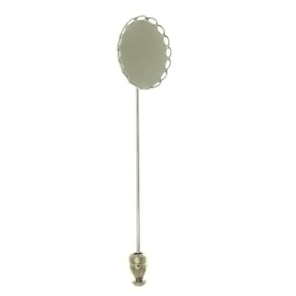 BROOCH STICK PIN CABOCHON 13 X 18 MM FINDING