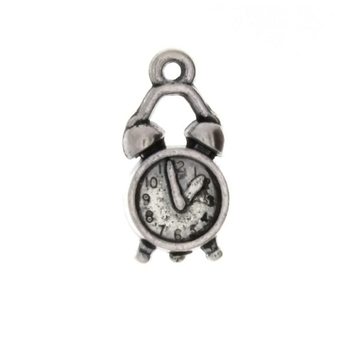NOVELTY ALARM CLOCK 10 X 19 MM PEWTER CHARM