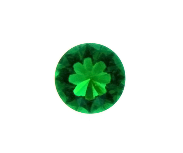 SIMULATED EMERALD ROUND FACETED GEMS