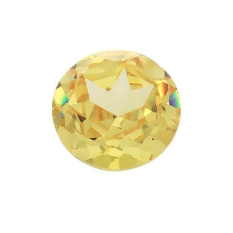 CUBIC ZIRCONIA CITRINE GOLDEN ROUND GIANT FACETED GEMS