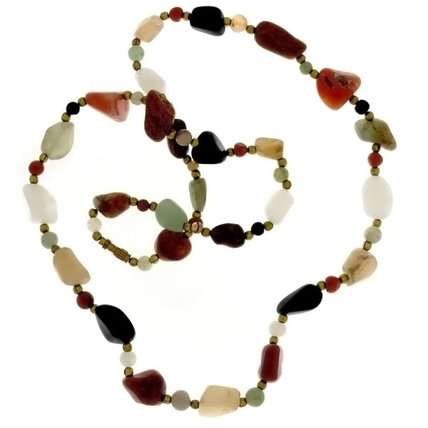 BEADED GEMSTONE VARIOUS BEGGAR BEAD NECKLACE