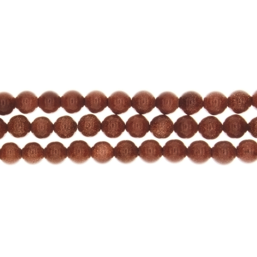 GOLDSTONE BROWN ROUND 6 MM STRAND