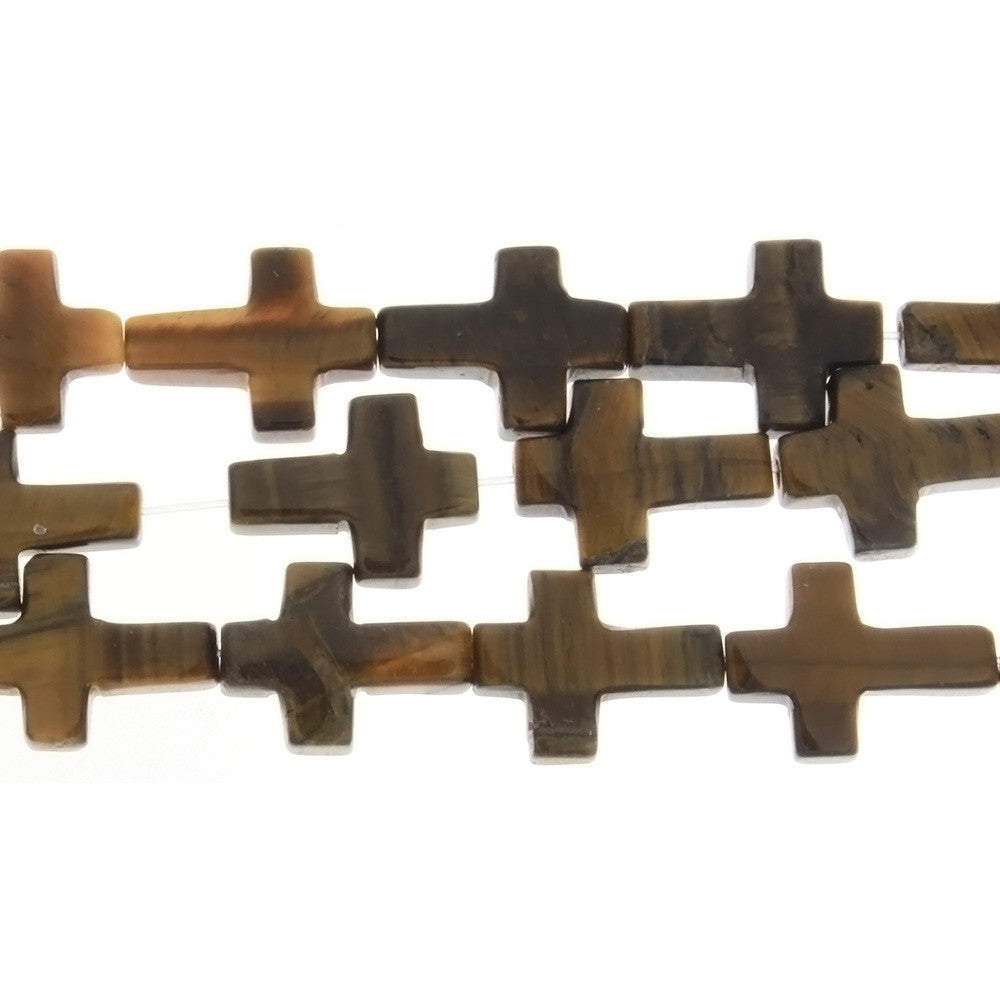 TIGER'S EYE CROSS 12 X 16 MM STRAND