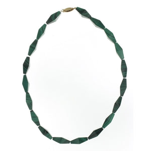 BEADED GEMSTONE MALACHITE NECKLACE