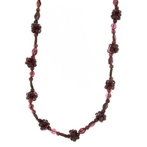 BEADED GEMSTONE GARNET CLUSTER NECKLACE
