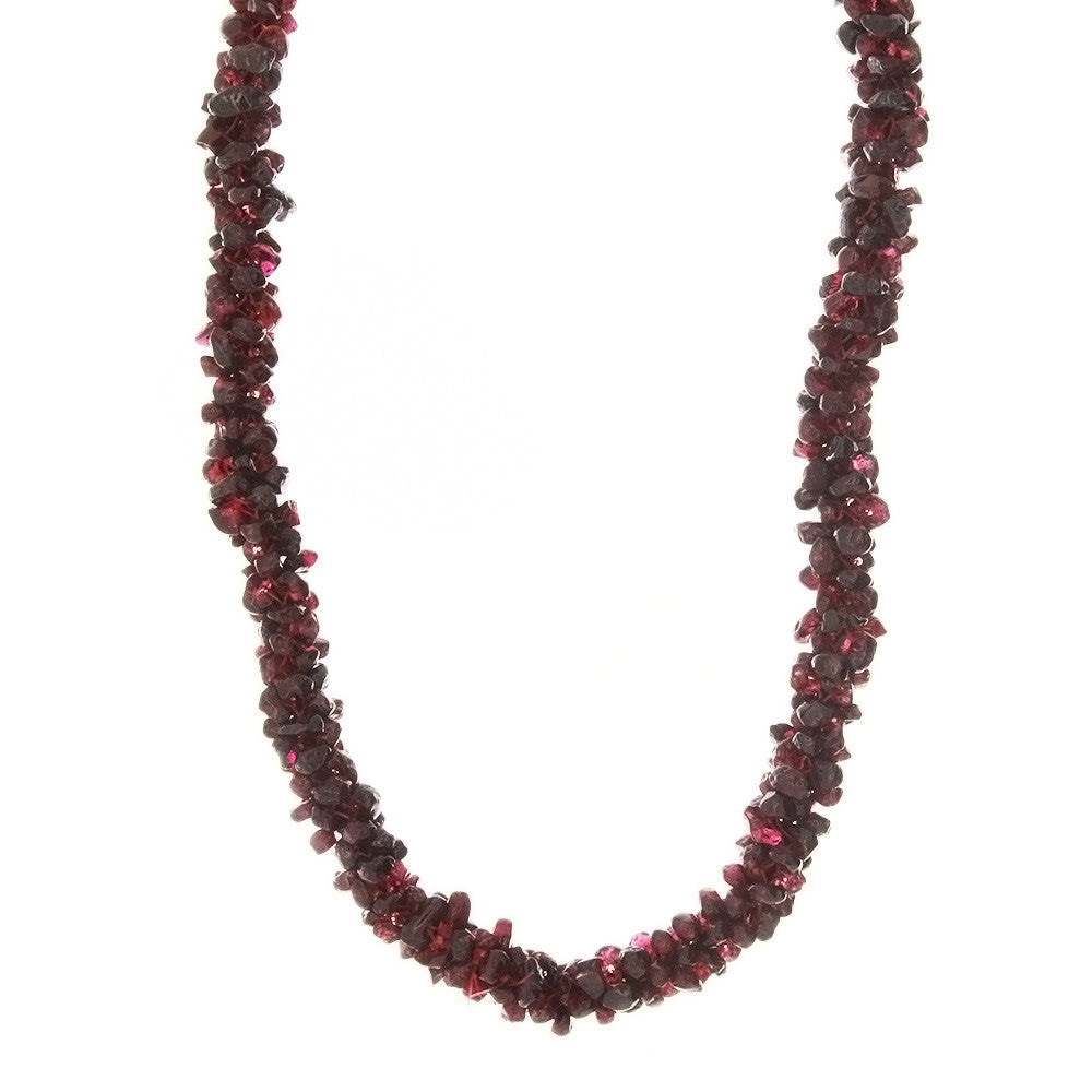 BEADED GEMSTONE GARNET SEED NECKLACE