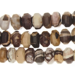 JASPER FUDGE STRIPE RONDELLE FACETED 7 X 13 MM STRAND