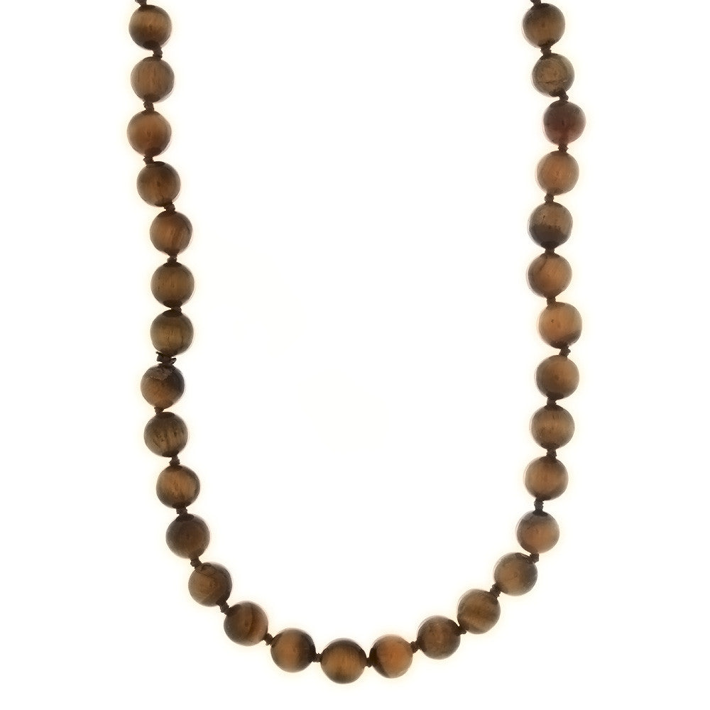 BEADED GEMSTONE TIGER'S EYE ROUND NECKLACE
