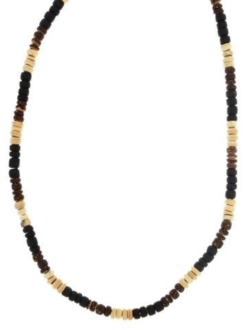 BEADED NATURAL WOOD COCO HEISEI NECKLACE