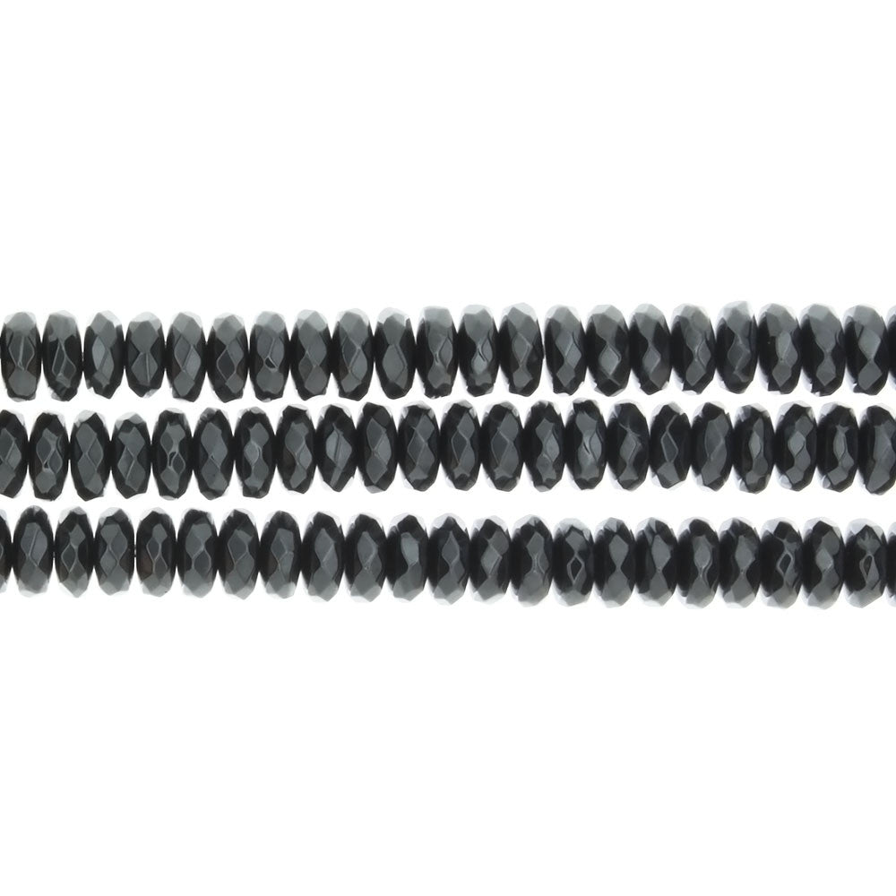 HEMATITE RONDELLE FACETED 4 X 6 MM STRAND