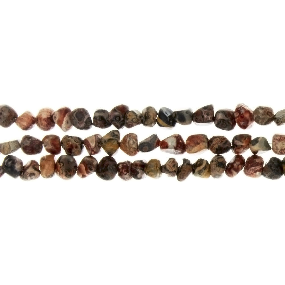JASPER LEOPARDSKIN PEBBLE 4 MM STRAND