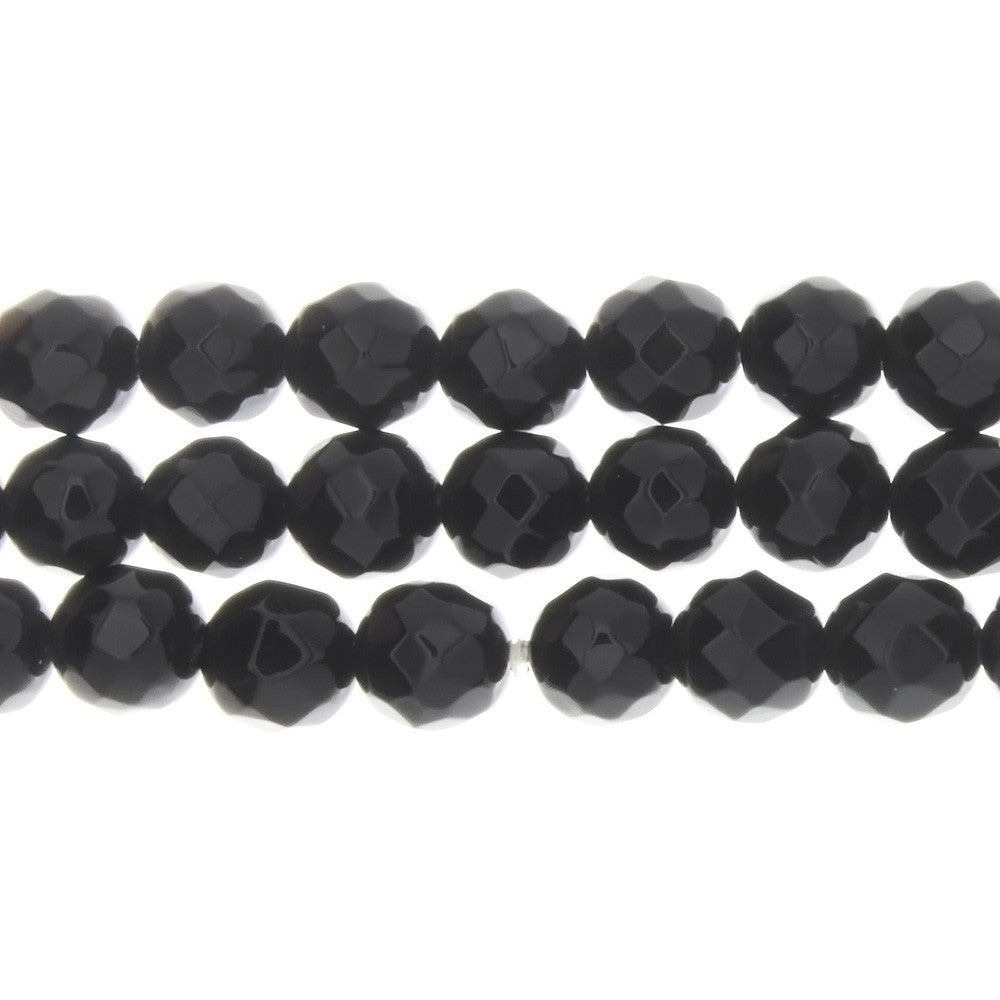 BLACK ROUND FACETED 10 MM STRAND