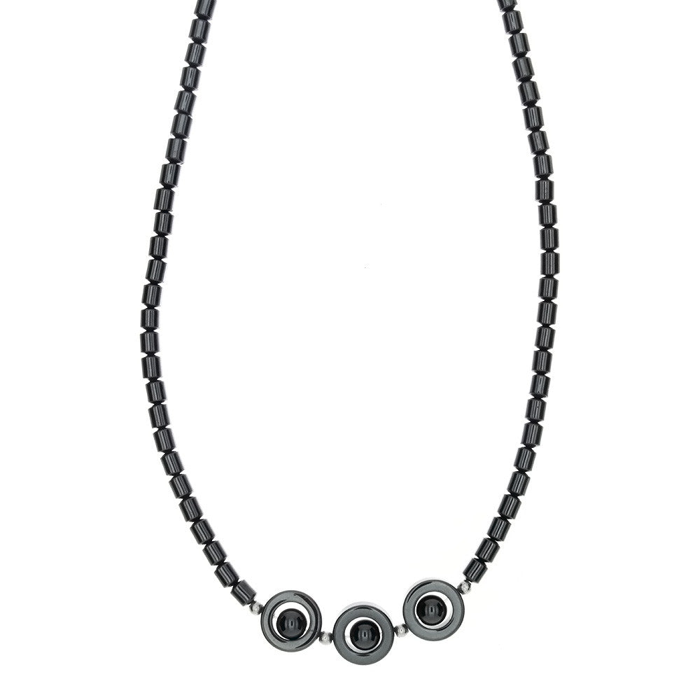 BEADED GEMSTONE HEMATITE W/ PLANET NECKLACE