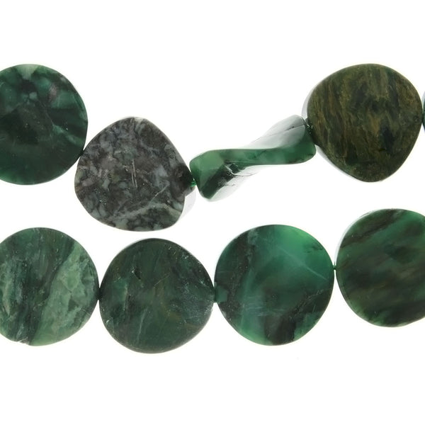 JADE AFRICAN COIN WAVY 25 MM STRAND