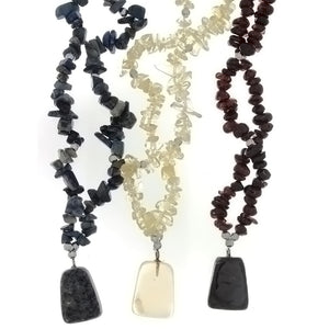 BEADED GEMSTONE VARIOUS CHIP W/ DROP NECKLACE (3)