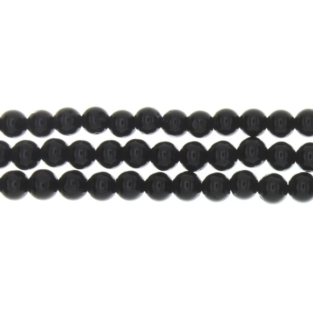 TOURMALINE BLACK ROUND 6 MM STRAND