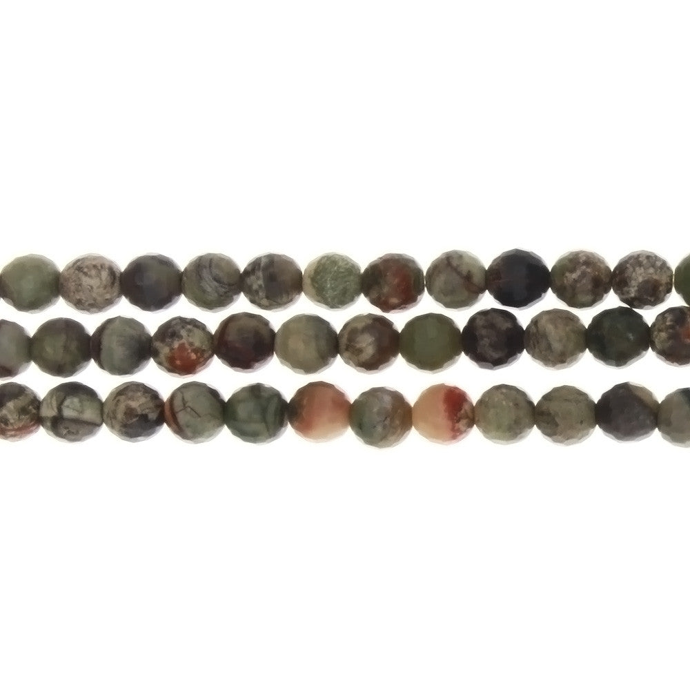 JASPER RAINFOREST ROUND FACETED 6 MM STRAND
