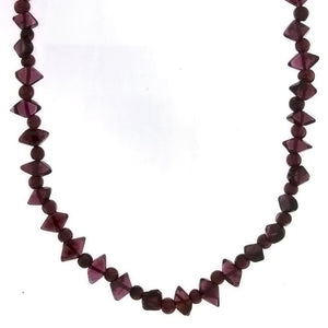 BEADED GEMSTONE GARNET DIAMOND NECKLACE