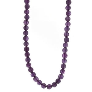 BEADED GEMSTONE AMETHYST ROUND NECKLACE