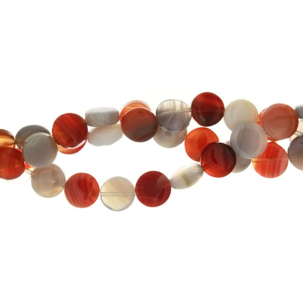 BOTSWANA ORANGE & GRAY COIN 10 MM STRAND