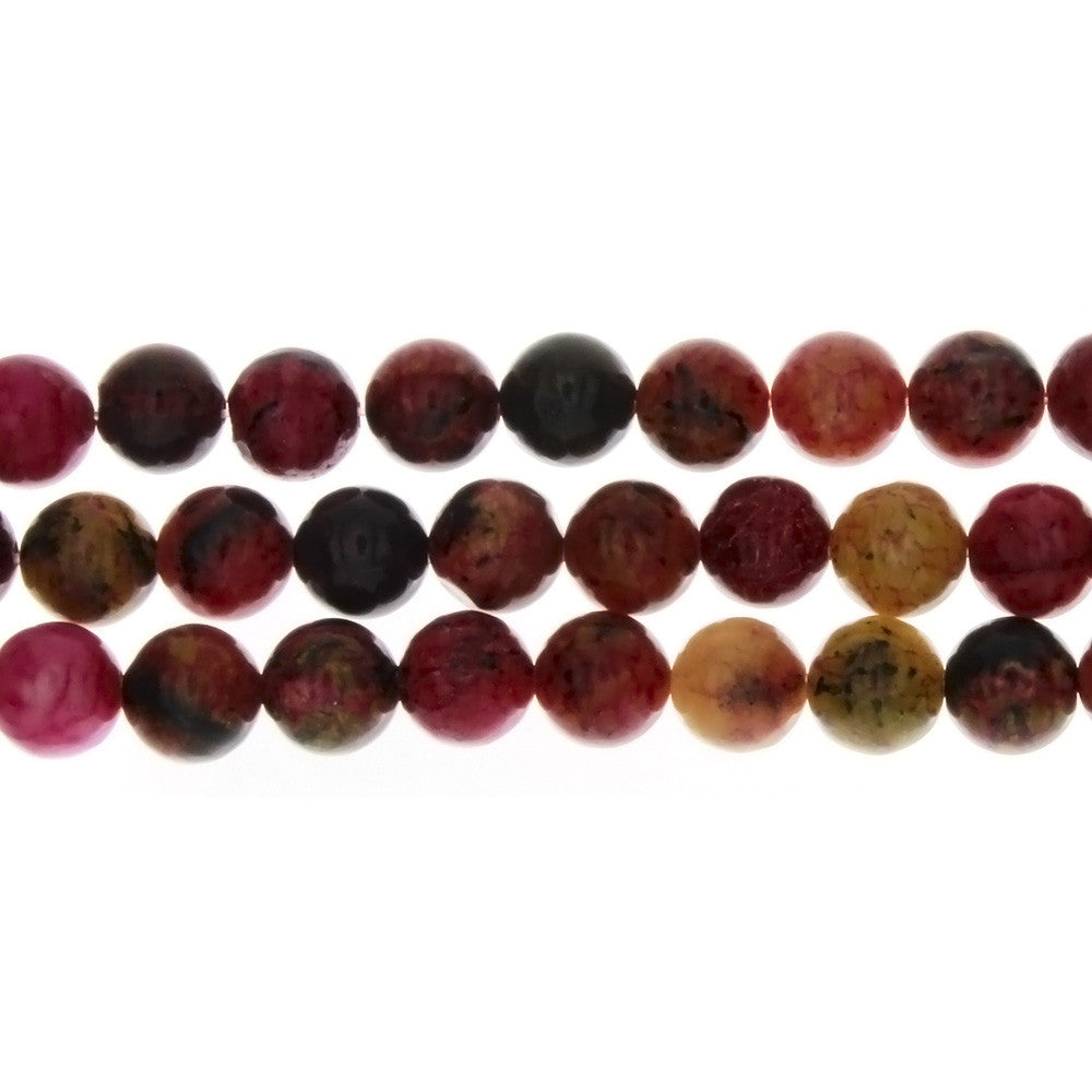 JASPER TURTLE RED ROUND 8 MM STRAND