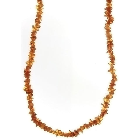 BEADED NATURAL AMBER CHIP NECKLACE