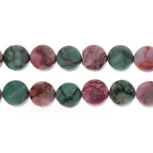 MATRIX STONE PINK & GREEN COIN 12 MM STRAND