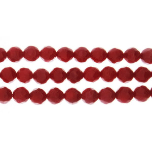 CORAL BAMBOO ROUND FACETED 6 MM STRAND