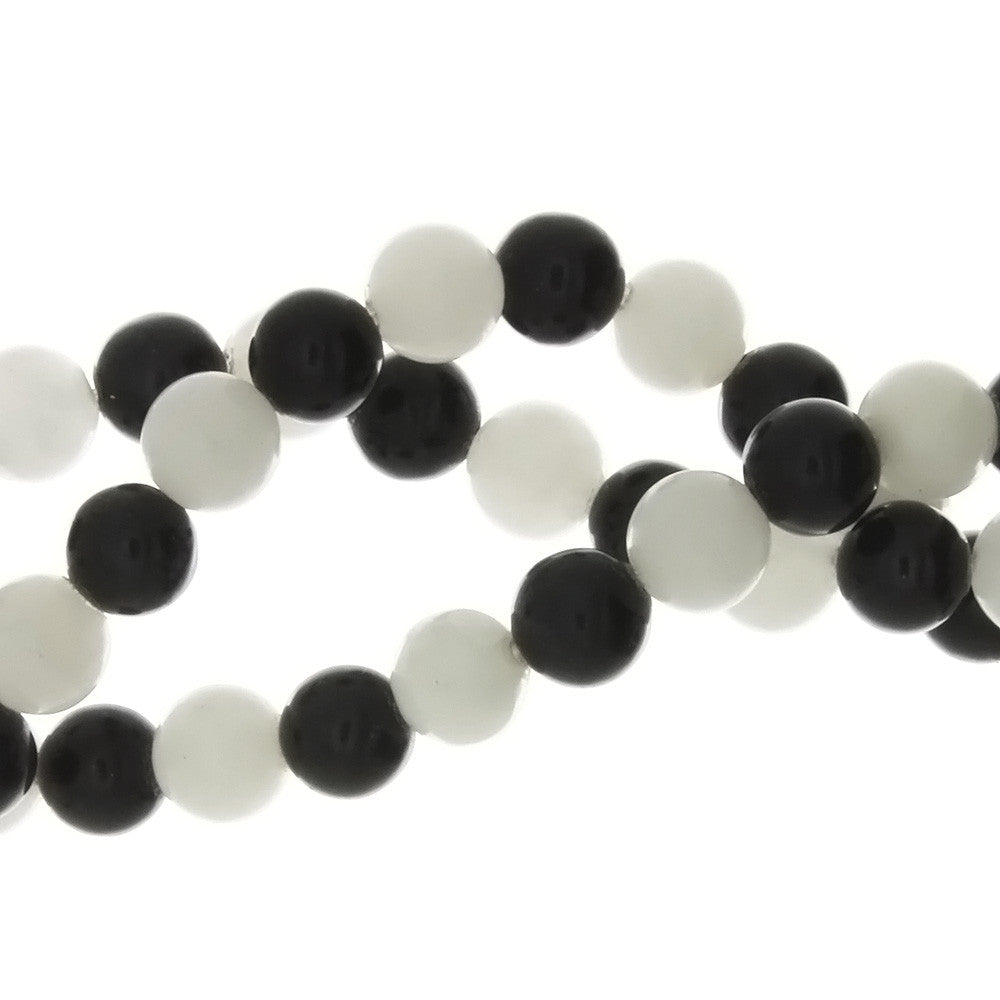 BLACK & WHITE ROUND 6 MM STRAND