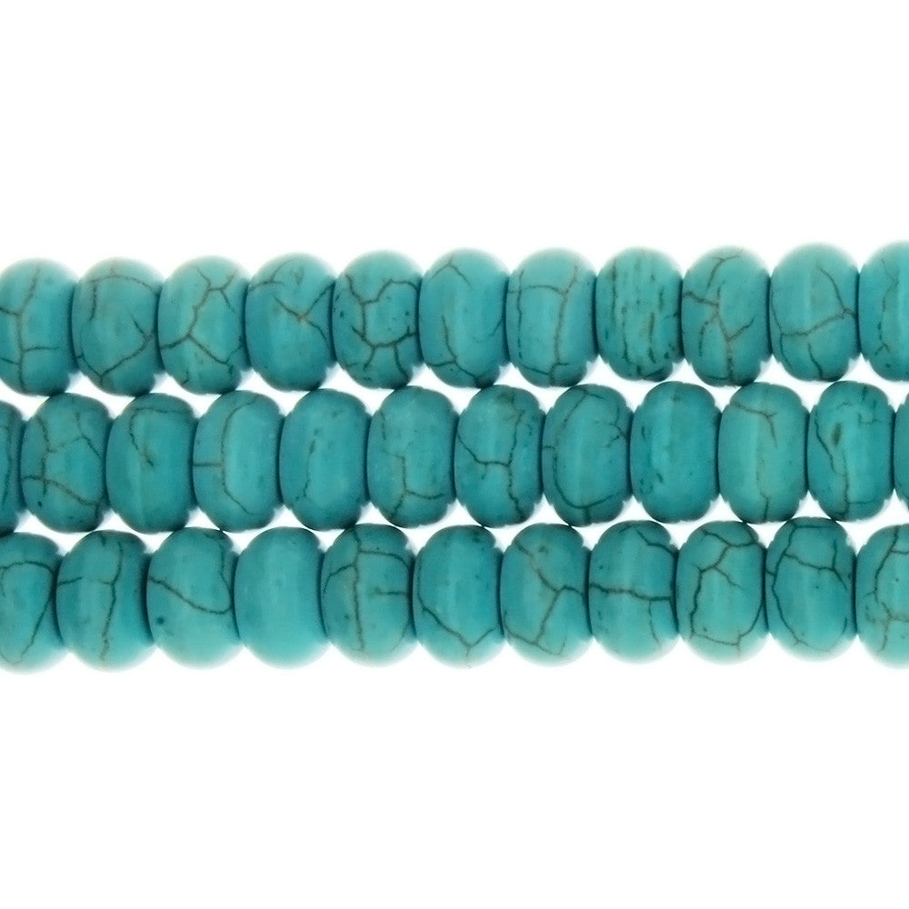 TURQUOISE MAGNESITE RONDELLE 6 X 10 MM STRAND
