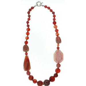 BEADED GEMSTONE AGATE FIRE ROUND W/ NUGGET NECKLACE