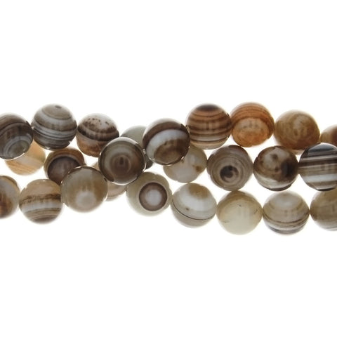 AGATE BANDED ROUND 10 MM STRAND