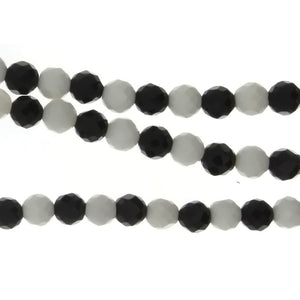 BLACK & WHITE ROUND FACETED 6 MM STRAND
