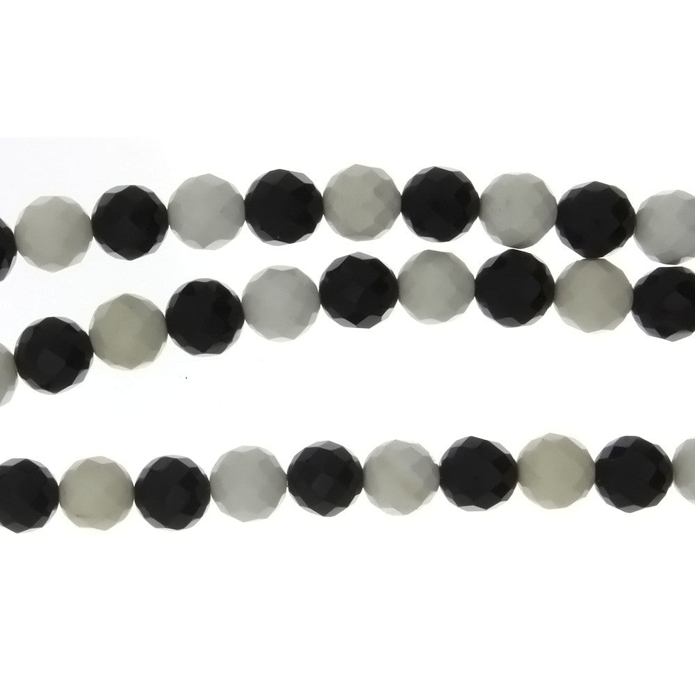 BLACK & WHITE ROUND FACETED 8 MM STRAND