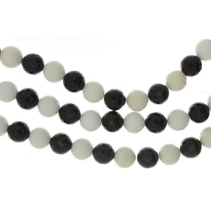 BLACK & WHITE ROUND FACETED 10 MM STRAND