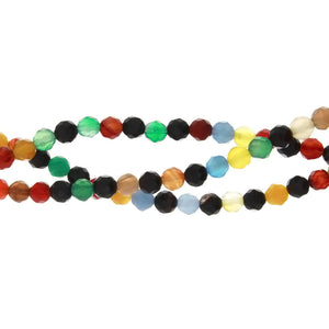 DYED MULTICOLOR ROUND FACETED 6 MM STRAND
