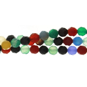DYED MULTICOLOR ROUND FACETED 8 MM STRAND