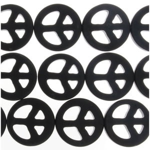 BLACK STONE PEACE SIGN 25 MM STRAND